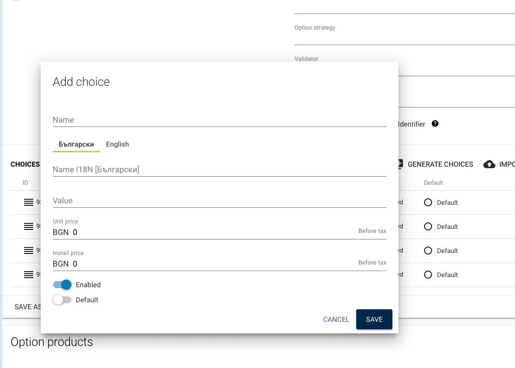 complete fields to add a choice