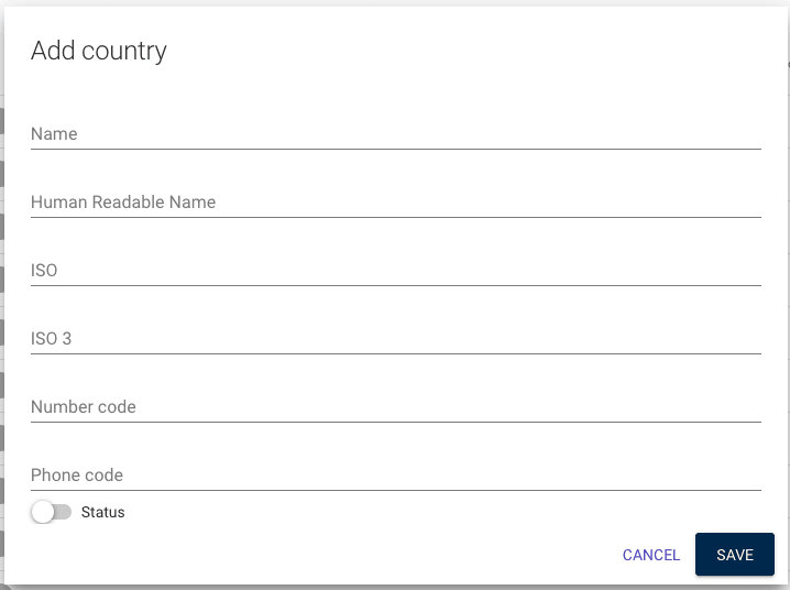 fill in form for adding a new country