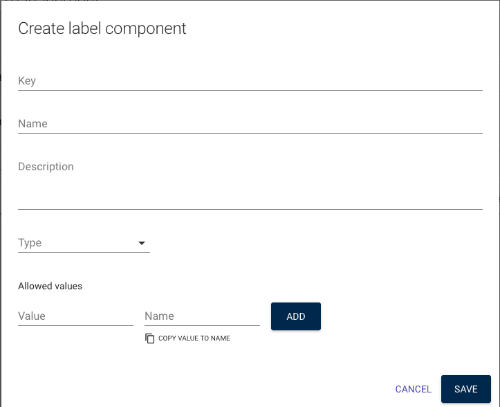 create a new component for the label