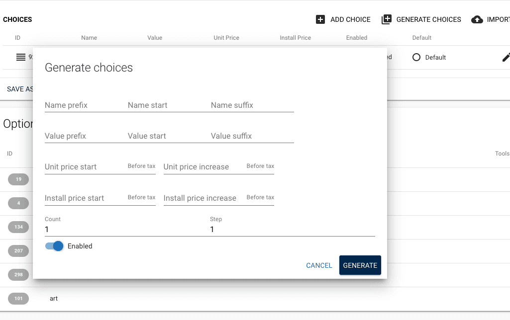 complete the fields to generate choices