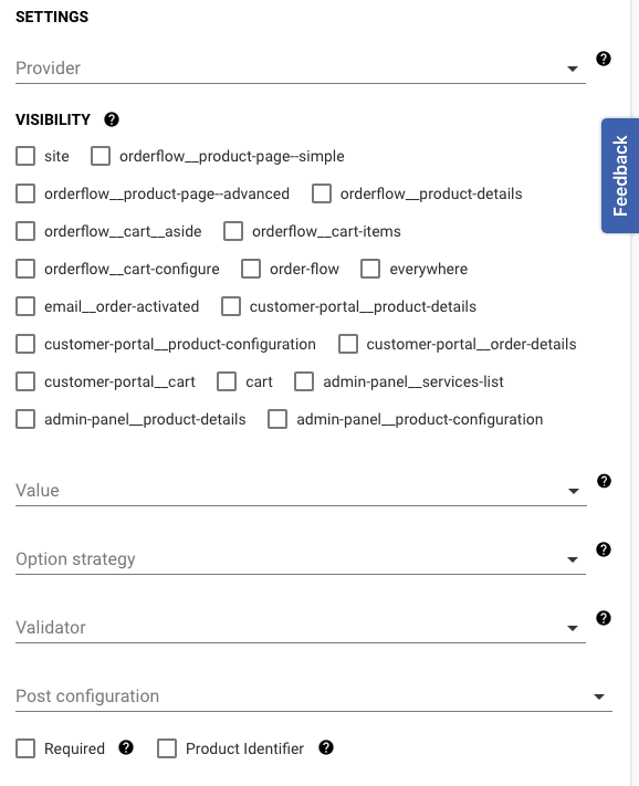 settings for options